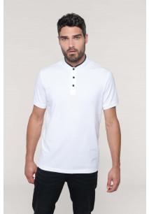 Men's short sleeve polo shirt with Mandarin collar