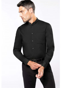 Men's long-sleeved mandarin collar shirt