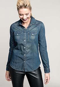 Ladies' long-sleeved denim shirt