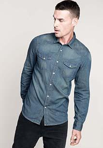 Men's long-sleeved denim shirt