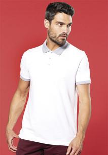Men's two-tone piqué polo shirt