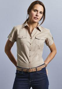 Ladies' Roll Sleeve Twill Shirt - Short-Sleeved