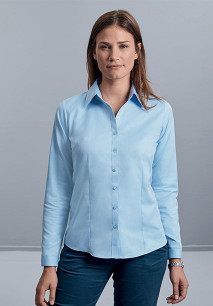 Ladies' Long-Sleeved Herringbone Shirt
