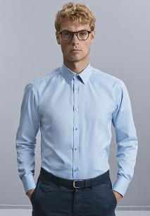 Men's Long-Sleeved Herringbone Shirt