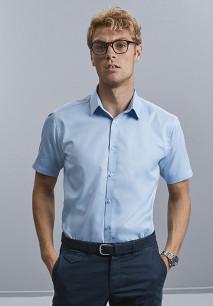Men's Short-Sleeved Herringbone Shirt