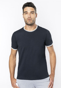 Men's piqué knit crew neck T-shirt