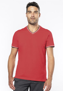 Men's piqué knit V-neck T-shirt