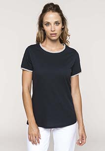 Ladies' piqué knit crew neck T-shirt