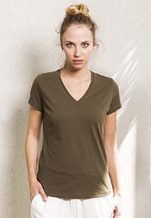 Ladies' organic cotton V-neck T-shirt