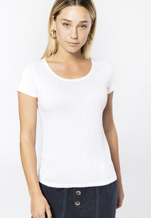 Ladies' short-sleeved organic t-shirt with raw edge neckline