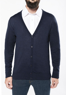 Men's merino wool button front cardigan