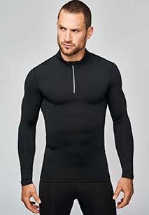Zip neck LONG-SLEEVED runningT-shirt