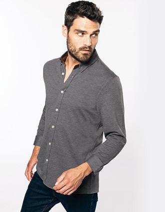 Long-sleevedJacquard knit shirt