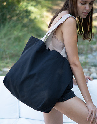 Large recycled flat-bottomed shopping bag