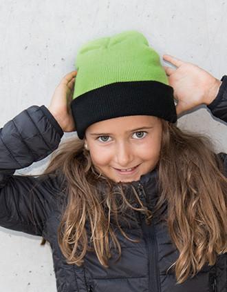 Two-tone kids' turn-up beanie