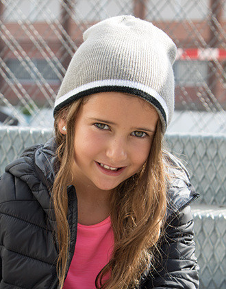 Kids' BEANIE with two-tone contrasting edge